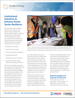 Institutional Solutions to Enhance Power Sector Resilience