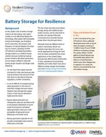 Storage for Resilience Fact Sheet Released!