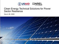 Webinar recording available: Clean Energy Technical Solutions for Power Sector Resilience